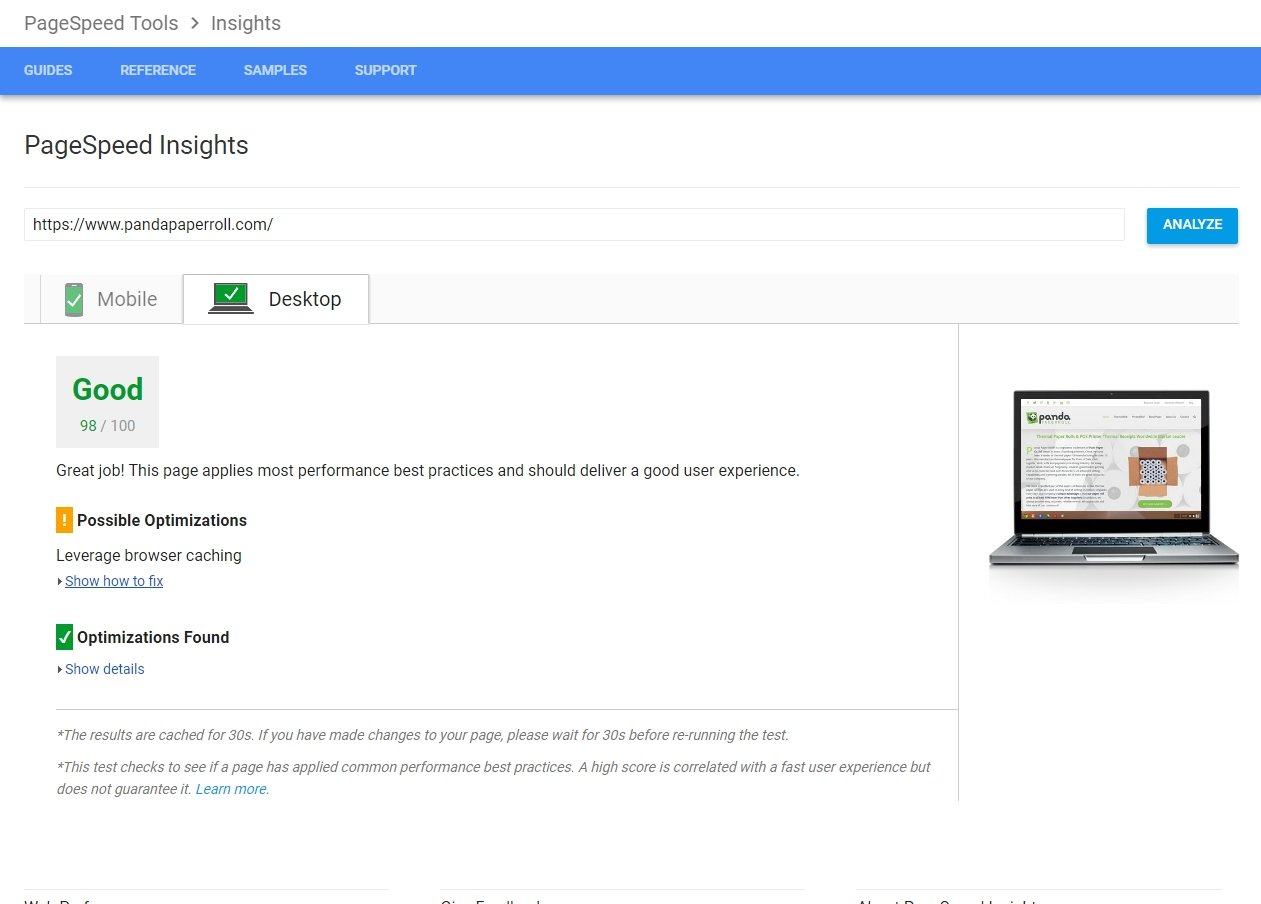 page speed insights after optimization screenshot